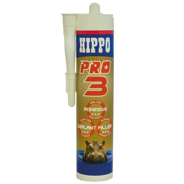 Hippo 310ml†PRO3 Adhesive Sealant & Filler Cartridge White