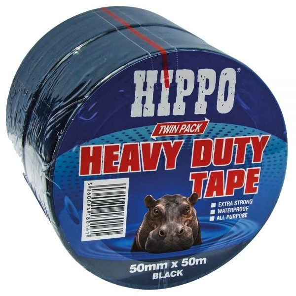 Hippo Heavy Duty Tape Twin Pack Black 50mm x 50m