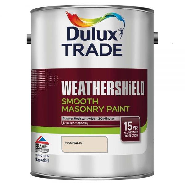 Dulux Trade 5L Weathershield Smooth Masonry Magnolia