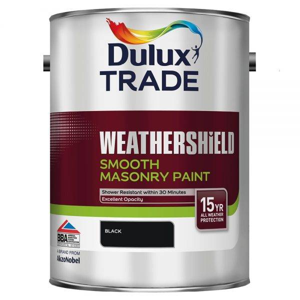 Dulux Trade 5L Weathershield Smooth Masonry Black