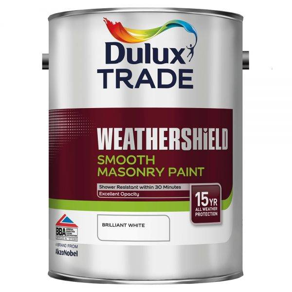 Dulux Trade 5L Weathershield Smooth Masonry Brilliant White