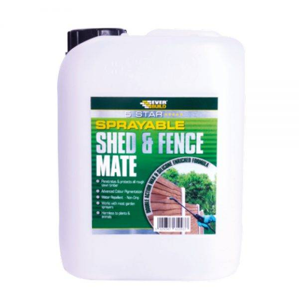 Everbuild 5 star Sprayable Shed & Fence Mate Ebony Black 5L