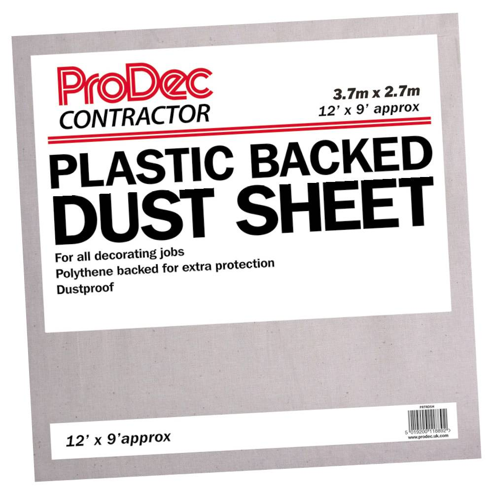 Rodo 12 x 9' Prodec Contractor Poly Back Cotton Twill Dust Sheet