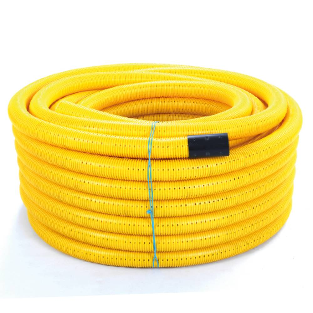 100mm x 50m Metrocoil Yellow Singlewall Perforated Gas Duct Pipe Coil