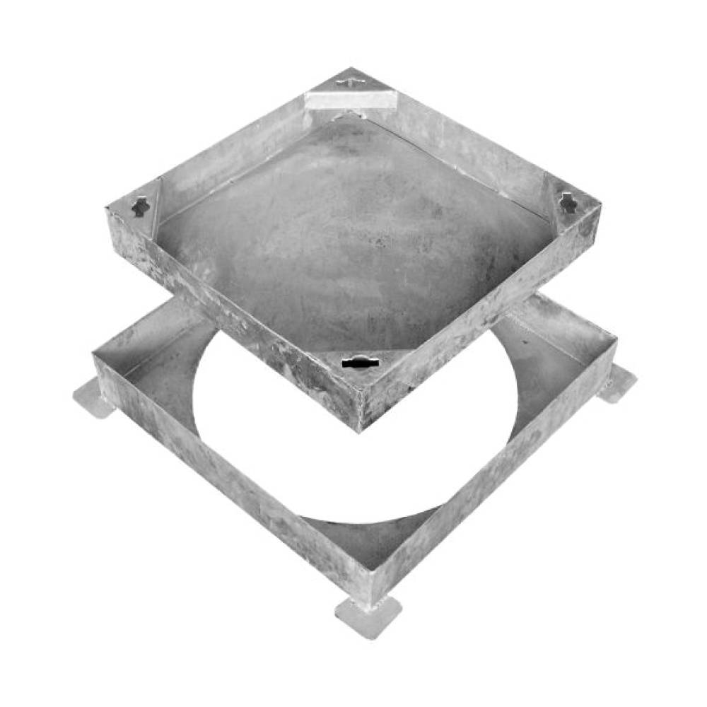 Wrekin 300 x 300 x 80mm Square to Round Recess Cover Glv Steel 60mm Block