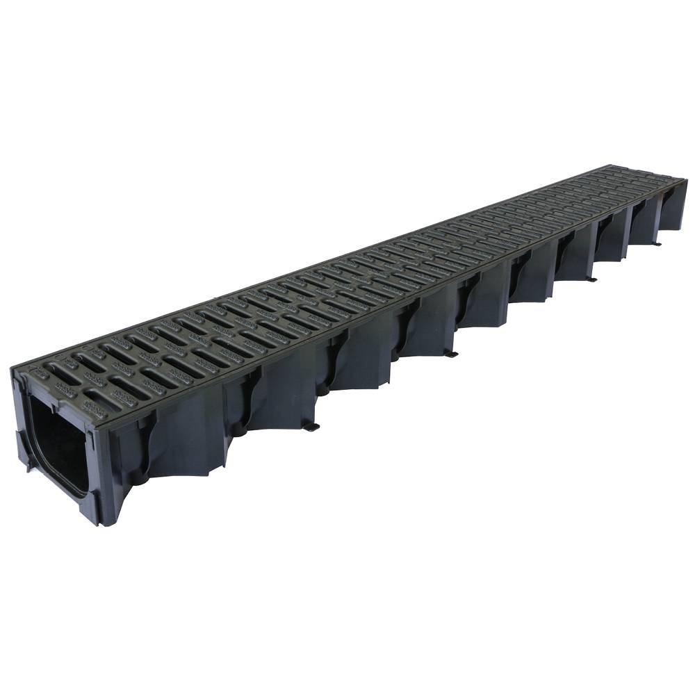 Aco 1000mm Hexdrain Channel with Black Plastic Grating