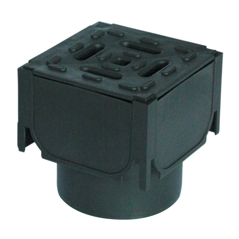 Aco 125mm Hexdrain Corner Unit w/ Black Plastic Grating & Vert Outlet