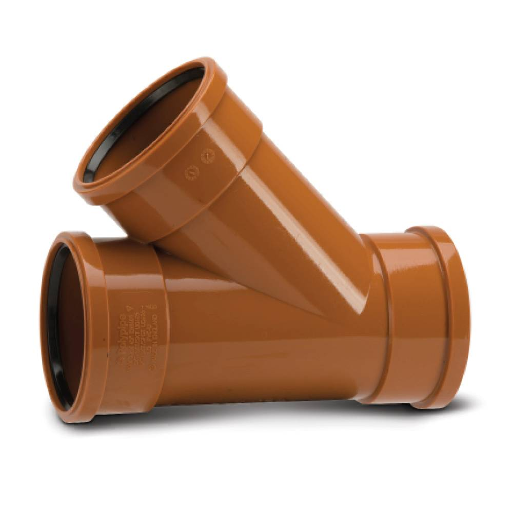 Polypipe 110mm Underground 45° Triple Socket Equal Junction
