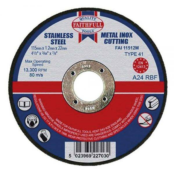 Faithfull 115 x 1.2 x 22mm Flat Metal Cutting Disc