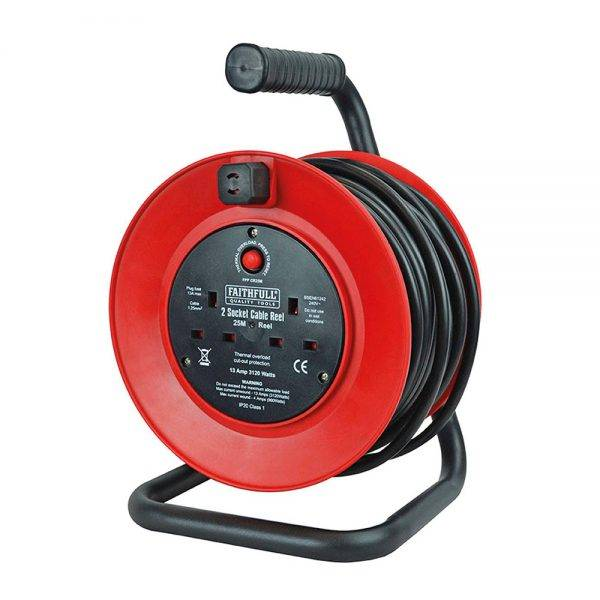 Faithfull 25m Power Plus Heavy Duty Cable Reel 2 Socket 13a 230v