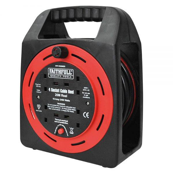 Faithfull 20m Power Plus Easy Cable Reel 4 Socket 230v