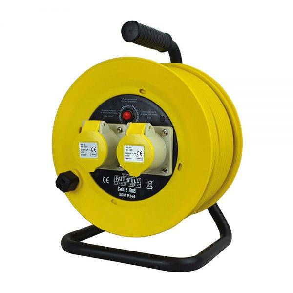 Faithfull 110v 50m 16a Open Frame Cable Reel