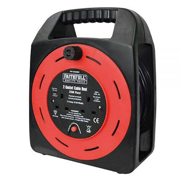 Faithfull 25m 230v 13a Easy Reel Cable Reel 2 Socket