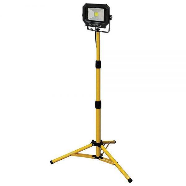 Faithfull 20w Tripod Bob LED Sitelight c/w Tripod 1400 Lumen 110v