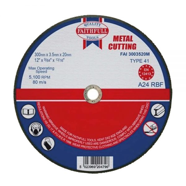 Faithfull 300mm Diameter 20mm Bore Flat Metal Cutting Disc