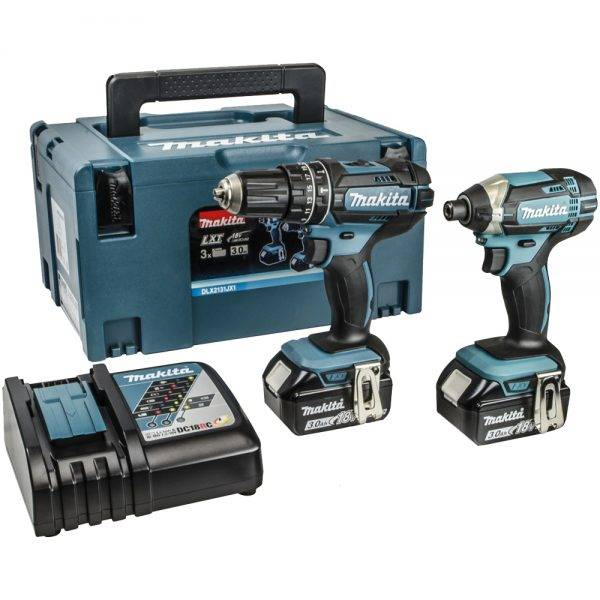 Makita DLX2131JX1 18V Cordless Twin Pack Li-ion with 2 x 3.0AH Batteries & 1 x Powerbank