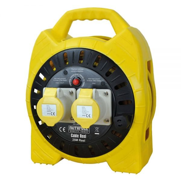Faithfull 110V 16A Power Plus Enclosed Cable Reel 2 Gang 15m